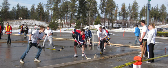 The weather cooperated for the first annual Winter Classic ball hockey tournament as teams competed in the sunshine.