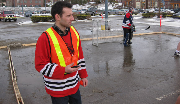 Aboriginal Programs & Services work study student Steve Mussell, a former junior player, took on refereeing duties and was impressed by the sportsmanship displayed at the Winter Classic tourney.