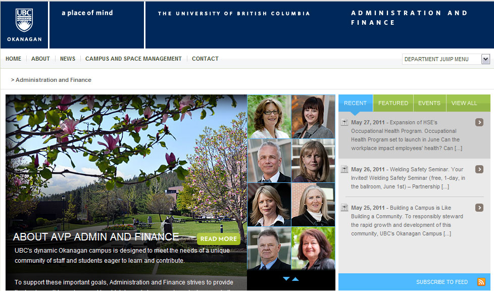 Administration and Finance website