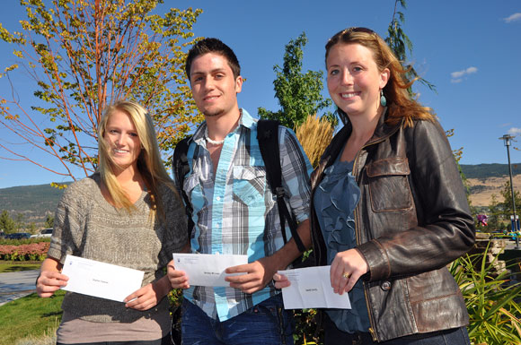 This year's New to UBC travel voucher winners are, from left: Kaitlin Carson, from Lloydminster Sask.; Wesley McLean, from Camrose, Alberta; and Sarah Smith from Okotoks, Alberta.
