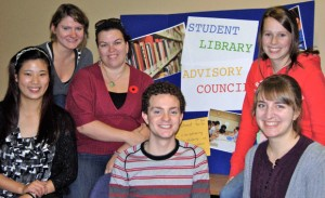 Members of the Student Library Advisory Council enjoy the new study spaces after the most recent renovations. Left to right: Cherry Wang, Sarah Ulicny, Tanya Chartrand, Jesse Bryden, Kyla de Jong,Katrina Labun.