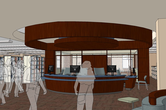A conceptual drawing of the library's new single service desk.