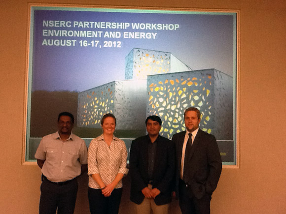 From left: Kasun Hewage, assistant professor of engineering, Sherry Sullivan, director of the Transportation and Built Environment at Cement Association of Canada, Rehan Sadiq, associate professor of engineering, and Darren Brown, director of environmental policy at the Cement Association of Canada.
