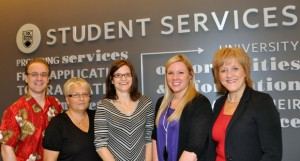 Richard Arnold, Terri Verigin, Jessica Mueller, Ashley Stapleton and Doreen Lock represent the newly integrated frontline for Student Services on campus. Absent from photo: Nancy Adams, Jill L'Abbe, Nancy Sandvoss.