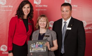 Marla O'Brien, executive director of the United Way of the Central and South Okanagan Similkameen, with UBC Okanagan Campaign Chair Sarah Stang, and James Paterson, United Way board member. (Photo credit: Rebecca Geleynse)