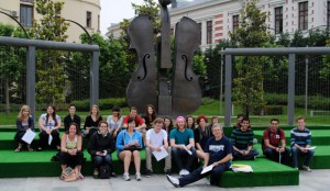 2012 summer Group Study in Central Square Bucharest, Romania with geography professor Carlos Teixeira..