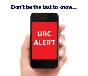 Emergency text messages available through UBC ALERT