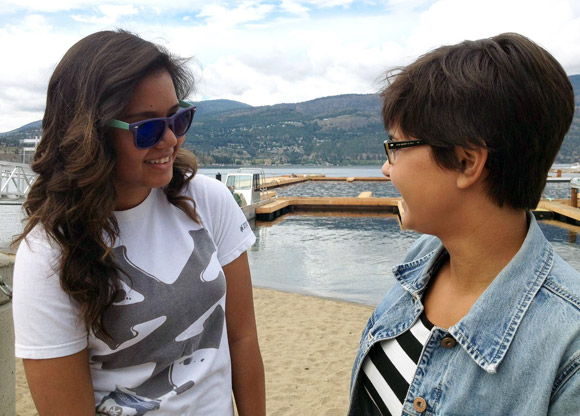 As part of the Explore Kelowna event, UBC Aboriginal Mentor Sarah Jacknife, right, talks lifestyle in the Okanagan with first year student Kishay McKigney in downtown Kelowna.