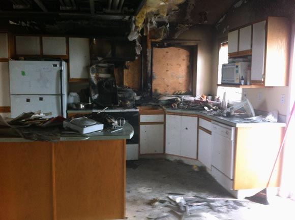 While the house fire started in the kitchen, smoke damage reached to every part of this North Okanagan rental unit.