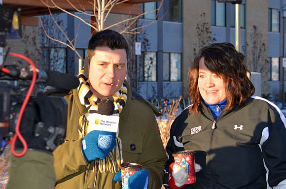The Weather Network's Arda Ocal interviews Layne McDougall, manager of Campus Recreation