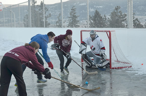 Ball hockey action was fast and furious at the rink behind the Purcell Residence.