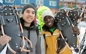 Aboriginal Mentors Omar Mwangari, right, and Nicholas Clark get set to hit the snowshoe trails at Silver Star Mountain Resort. Snowshoeing is becoming a more popular activity with students at the annual event.