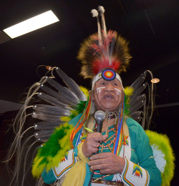 In the University Theatre, Secwepemc (Shuswap) Nation Elder Ernie Philip opened the screening of the documentary 'Dancing Bear' by speaking from the heart about his Residential School experience.