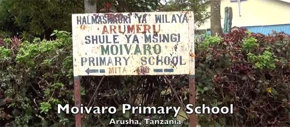 Sign for Moivaro Primary School in Tanzania