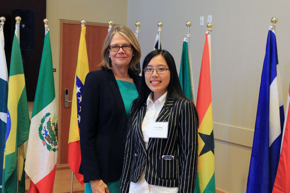 Deputy Vice Chancellor and Principal Deborah Buszard and Zifang Jiang, winner of the inaugural Joseph Yu Global Leadership Award.