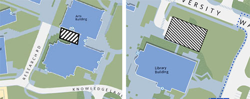 Graphic: The sidewalk area on the west side of the Arts building and all of parking Lot A north of the Library
