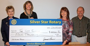 In the photo are (left to right): Silver Star Rotary President Janet Green and the club's Chair of International Projects Sandra Ross, along with Sandra Peacock and Rotarian Bob Clarke.
