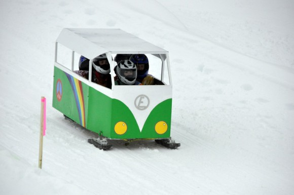 The VW van makes it to the finish line during the slalom event at Big White.