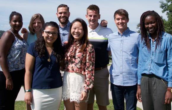 This year's orientation and summer transition program coordinators. Back row, from left: Evelyn Kiiza, Sydney Bednarik, David Lacho, Matt Hoogveld, Nick Ross, Mirabelle Arodi. Front row from left: Alejandra Garcia and Linh Le