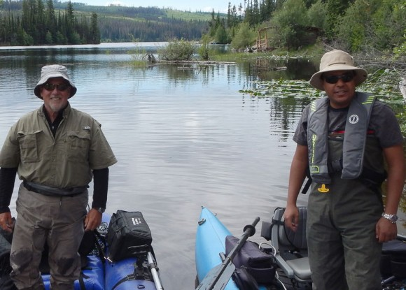 Michael Burgess, professor in the School of Population and Public Health and Chair in biomedical ethics, and Ahmed Idris, assistant professor of civil engineering, return from a fishing event at Oyama Lake in May