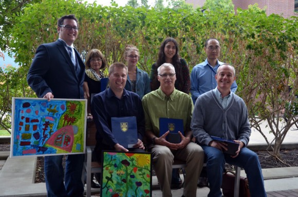 I Am Accessible award winners are:  (from left, back row) Ben Tippett, Milka Beck, Allison Hargreaves, Aleksandra Dulic, Yang Cao. In front are: Ramon Lawrence, Daniel Keyes, and Paul Davies. Missing from the photo are: Richard Plunkett, Ruth Frost, Matthew Rader, and Hsing-Ming Chang.