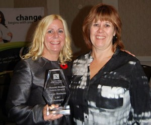 From left: Tracey Hawthorn and Deb Oakley were on hand to accept the Canadian Mental Health Association's Voices Award on Nov. 4.