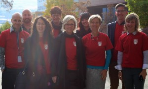 The University Relations team wears red to support the 2015 United Way campaign at the annual Walk-Through Breakfast.