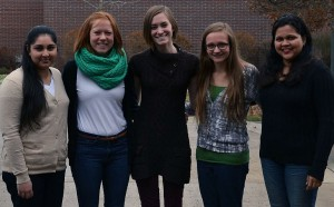From left: Nursing students Gurpreet Thur, Laura May, Cassandra Werkema, Julianne Siewert, Noella Gomes