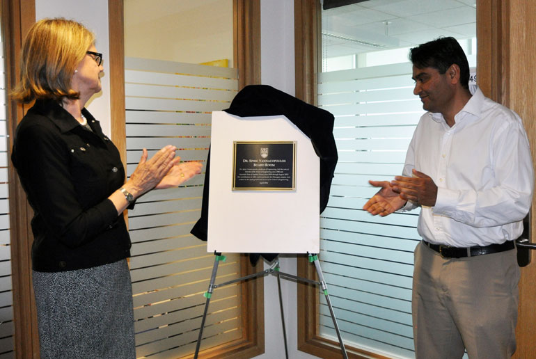 Deputy Vice-Chancellor Deborah Buszard and Associate Dean of Engineering Rehan Sadiq unveil the plaque for the Dr. Spiro Yannacopoulos Board Room.