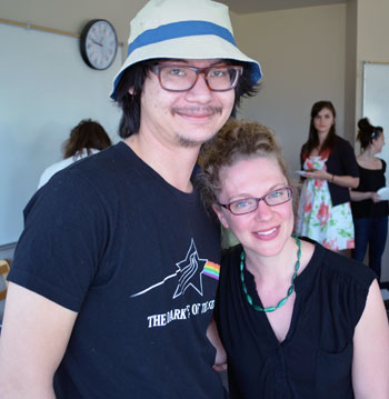 Brandon Ashcroft enjoyed a great working relationship with Prof. Allison  Hargreaves. The two colleagues shared a moment during the final English 114 class of Term 2.