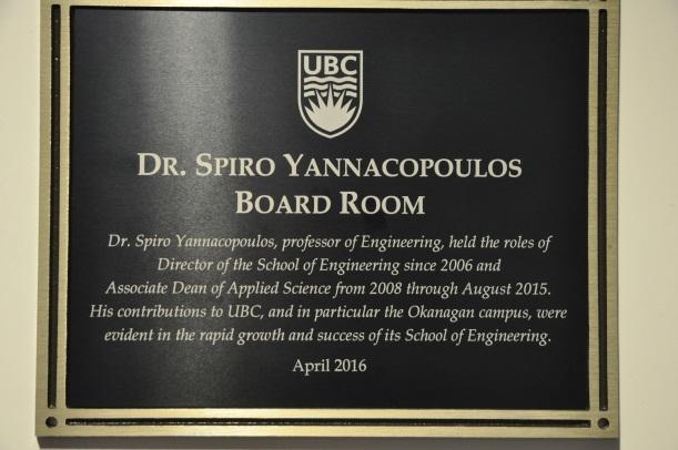 Plaque for the Dr. Spiro Yannacopoulos Boardroom