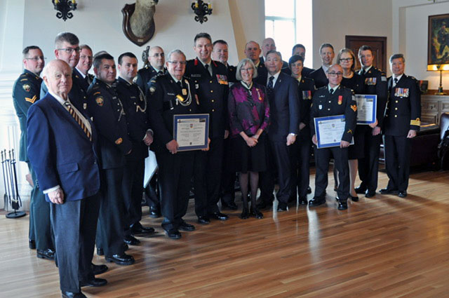 A photo of all those recognized with the Canadian Forces Liaison Council Provincial Award of Excellence on March 25.