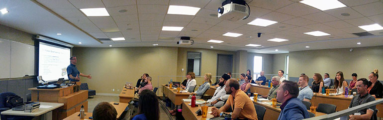 Master of Management students at the introduction of the intensive in-residence session.