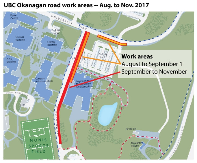 UBC Okanagan road work areas -- Aug to Nov 2017