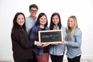 Stigma has been called out as the number one silent killer related to substance use and UBC nursing students are working to stop it. From left: Rachel Lee, Brandon Tremblay, Jenna Hunter, Wendy Tan and Shelby Price