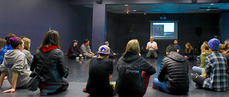 Experience UBC students were divided into groups and tasked with combining words with movements during the Creative and Critical Studies session