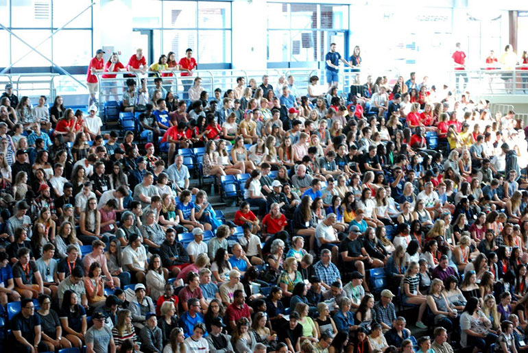 The UBC Okanagan gym was packed during Saturday's opening plenary.