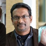 Jonathan Corbett, assoc. prof. of geography and SSHRC researcher of the year, Kasun Hewage, prof. of engineering and NSERC researcher of the year, and Rachelle Hole, assoc. prof. of social work and health researcher of the year.