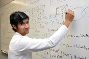 Indian mathematics student Pulkit Bansal is finishing up a 10-week internship at UBC's Okanagan campus, where he has been working with professors Heinz Bauschke and Shawn Wang to solve some difficult mathematics problems