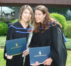Mari Tanaka, left, and Lindsay Balfour are among the first graduates of UBC Okanagan's Cultural Studies major program.