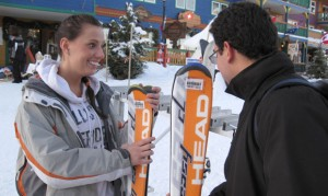 Aboriginal student Ann Windels chats with international student Gustavo Aguilar prior to hitting the slopes on their first-ever day of skiing during the Escape to Silver Star Mountain Resort tour.