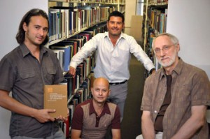 The forensic psychology group at UBC Okanagan includes, from left, psychology professors Michael Woodworth, Zach Walsh, Stephen Porter and Jan Cioe.