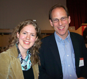 Master of Science in Nursing student Kaley York with renowned autism expert Simon Baron-Cohen at the Autism Neuroscience Conference last fall in London, England.