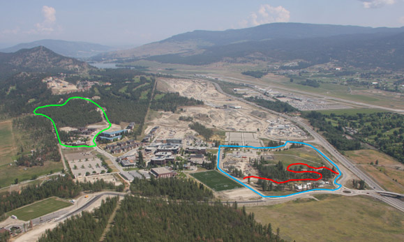 This aerial photo looking north over UBC Okanagan's campus shows the location of the new trails. (Pine Trail in green, Snowberry Loop in blue, and the Old Pond Trail in red).