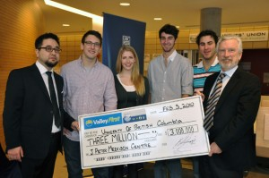 UBC Students' Union Okanagan presented a cheque for $3 million to UBC Okanagan on Friday morning. From left, UBCSUO General Manager Rob Nagai, UBCSUO executive members Bobby Chavarie, Carolyn Cody, Spencer Robins, Grayson Lepp, and Doug Owram, Deputy Vice Chancellor and Principal of UBC Okanagan.