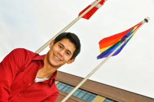 University student Daniel Sadler was on hand for Monday afternoon's OutWeek flag-raising ceremony at UBC Okanagan.