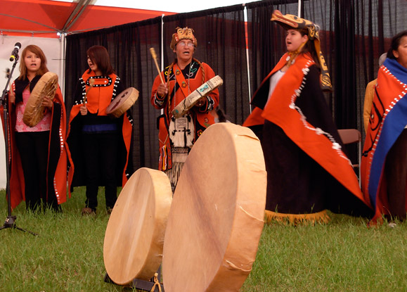 Members of the Taku Kwaan Dancers performing at the Atlin Arts and Music Festival in 2009. -- Christine Schreyer photo.
