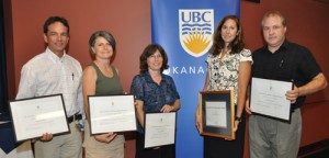 UBC Okanagan staff award recipients for 2009 are, from left, Roger Bizzotto, Barbara Lucente, Wendy Mohns, Leanne Bilodeau, and Bud Mortenson.