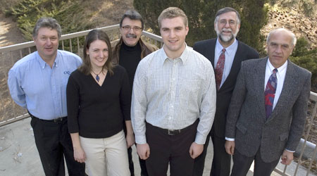 On hand for Wednesday's CTQ Scholarship announcement at UBC Okanagan were (front) third-year engineering students Jackie Nichols and Konrad Duerr; (back row, from left) Matt Cameron, CTQ Managing Partner; Ed Grifone, CTQ Manager of Planning and Urban Design; Dr. Michael Isaacson, Dean of UBC's Faculty of Applied Science; and Dr. Spiro Yannacopoulos, Director of UBC Okanagan's School of Engineering.
