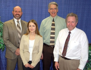 From left, Bernard Bauer, Dean of the Irving K. Barber School of Arts and Sciences, presented graduate student Elinor McGrath with the first EBA Engineering Consultants Ltd. Graduate Scholarship in Hydrogeology, along with Scott Schillereff, Principal Consultant of EBA and Tim Murphy, Principal Engineer.